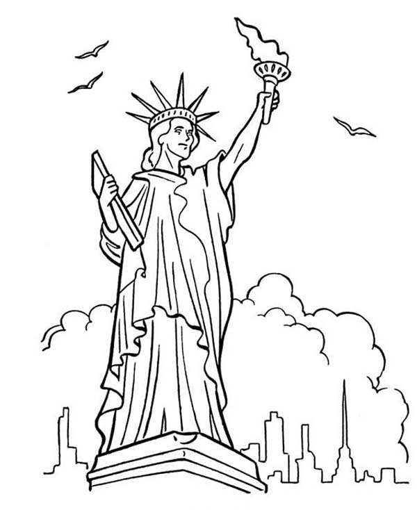 Great Bluebonkers Armed Forces Day In Statue Of Liberty Coloring Statue Of Liberty Coloring Page
