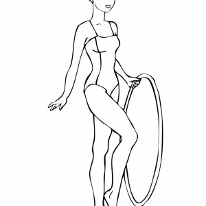 gymnastics routine with a hoop gymnastic coloring page