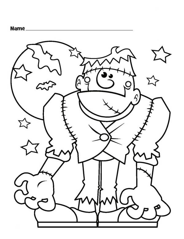 Halloween Monster Frankenstein and Bats Coloring Page Download