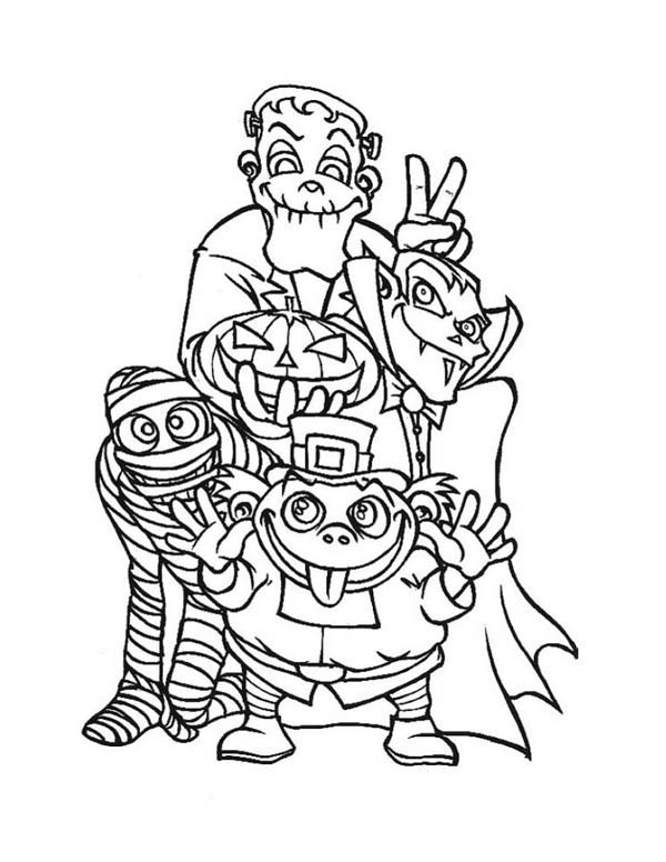 Halloween monsters and frankenstein coloring page for Frankenstein coloring pages to print