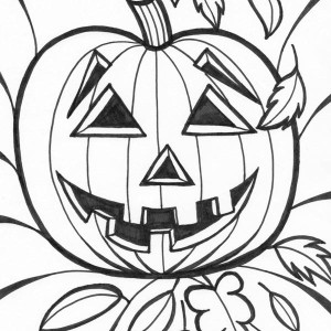 Halloween Pumpkins Smiling Coloring Page