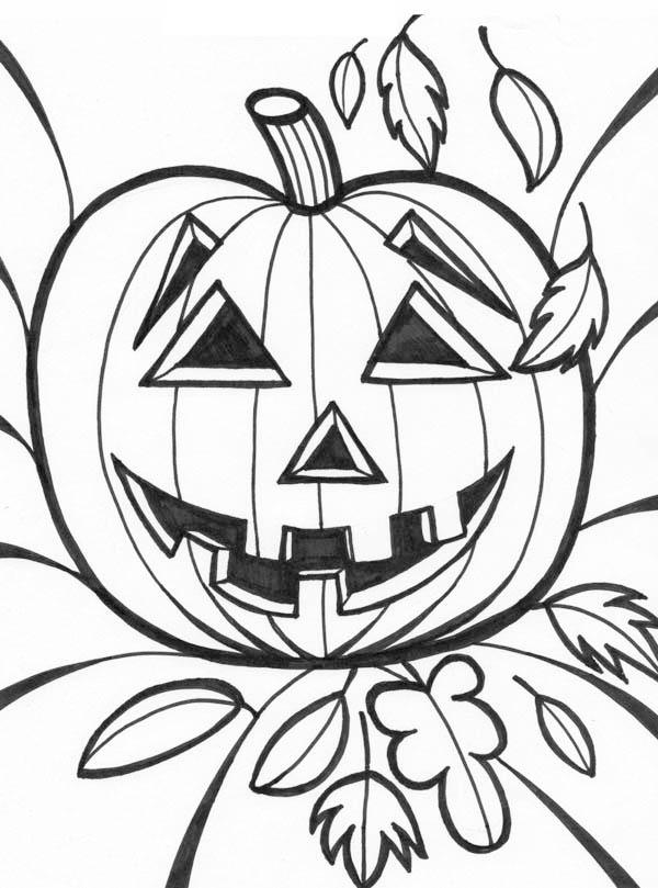 Halloween Pumpkins Smiling Coloring Page - Download & Print Online ...