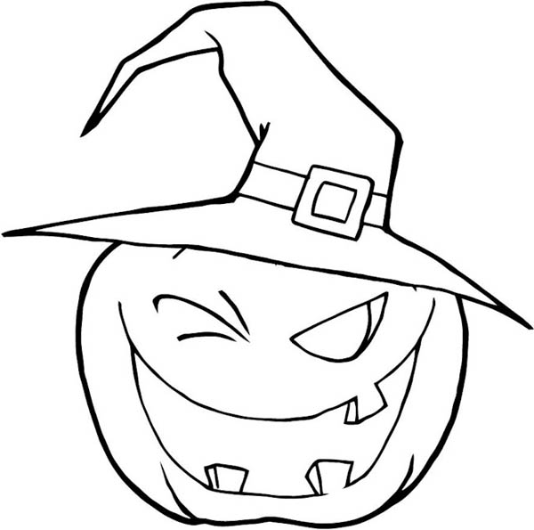 Halloween Pumpkins Wearing Witch Hat Coloring Page