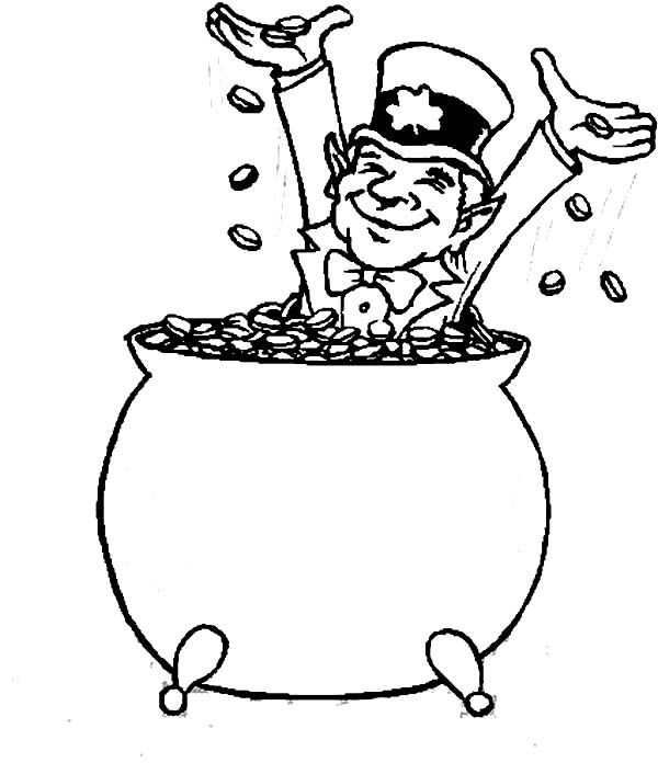 Happy Leprechaun Bathe in Coins Inside a Pot of Gold Coloring Page ...