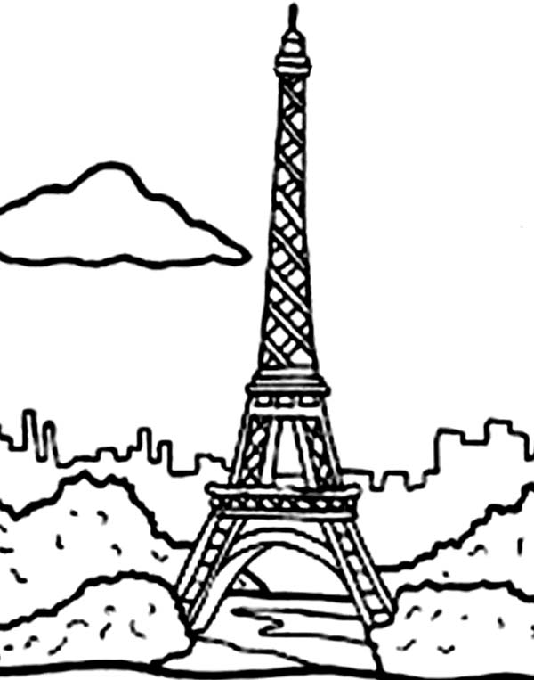 Holiday in Eiffel Tower Coloring Page Download Print Online