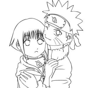 Hyuuga Hinata and Uzumaki Naruto Coloring Page