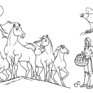 Indian Horses Coloring Page