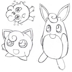 Jigglypuff Family Coloring Page