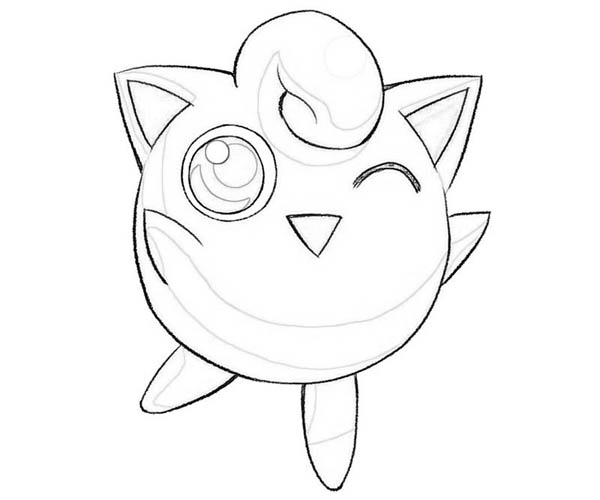 Jigglypuff Pokemon Wink Coloring Page