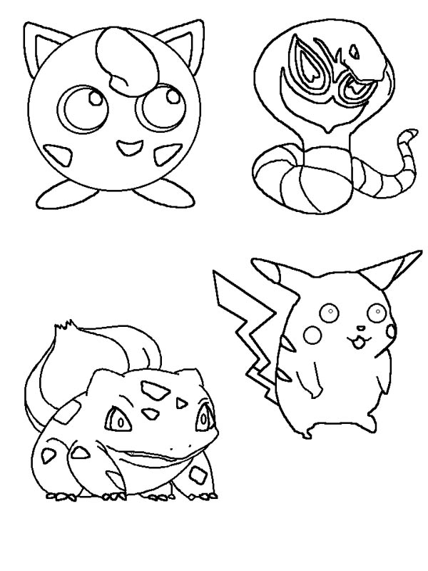 Jigglypuff and other pokemon characters coloring page