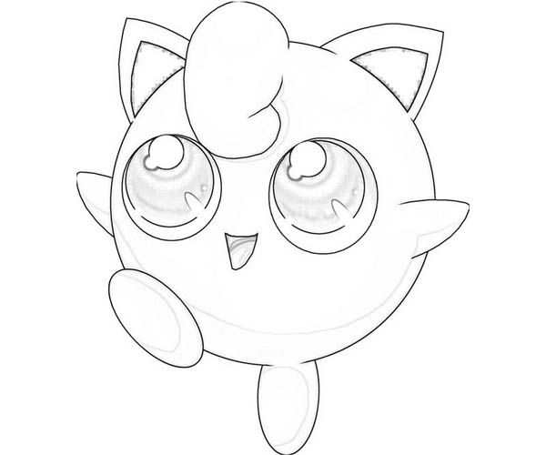 Jigglypuff is very happy coloring page download print for Jigglypuff coloring page