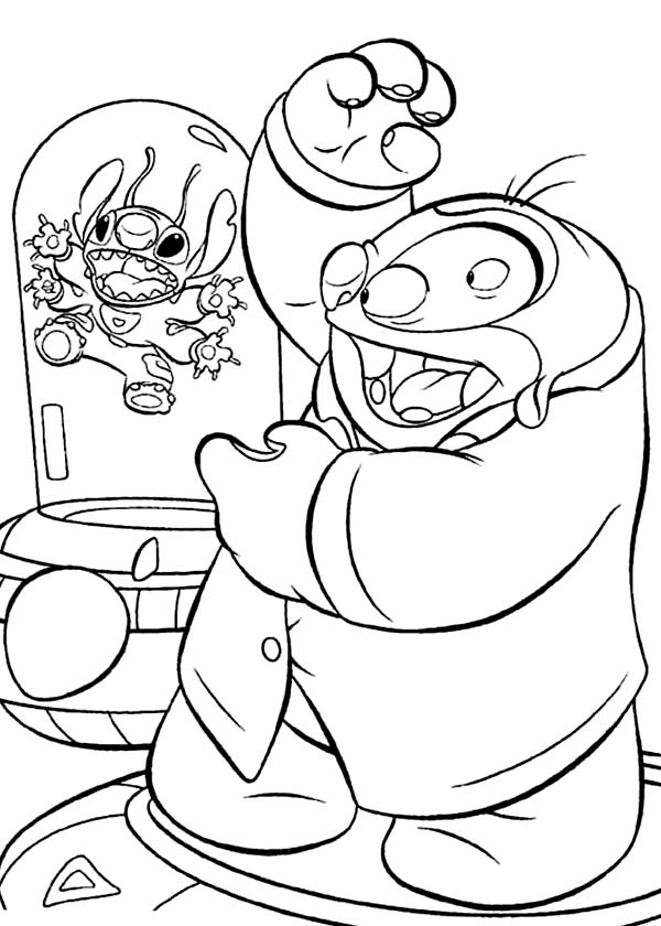 Jumba Jookiba Imprison Stitch in Lilo Stitch Coloring Page
