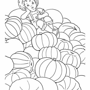 Kid Sitting on a Lot of Pumpkins Coloring Page