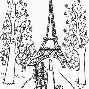 kindergarden holiday at eiffel tower coloring page - Paris Eiffel Tower Coloring Pages