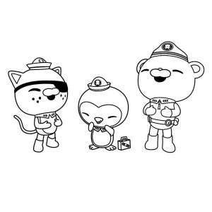 Kwazii And Peso Captain Barnacles Laughing Together In The Octonauts Coloring Page