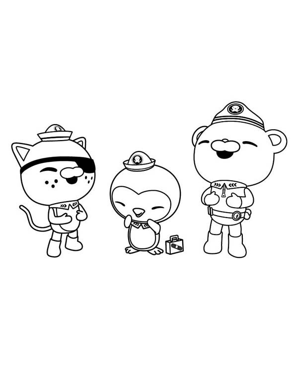 kwazii and peso and captain barnacles laughing together in the octonauts coloring page - Octonauts Coloring Pages Print