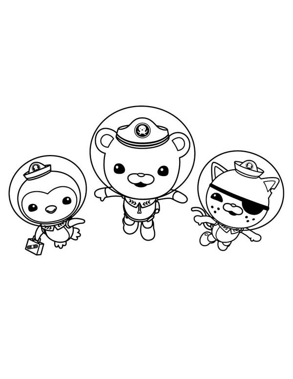 Kwazii and Peso and Captain Barnacles Swimming in The Octonauts