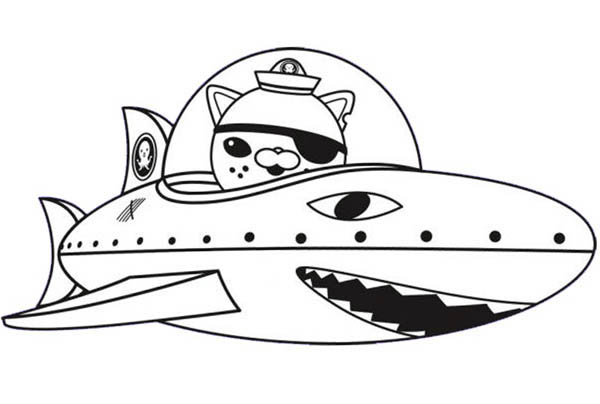 Kwazii and Shark Submarine in The Octonauts Coloring Page
