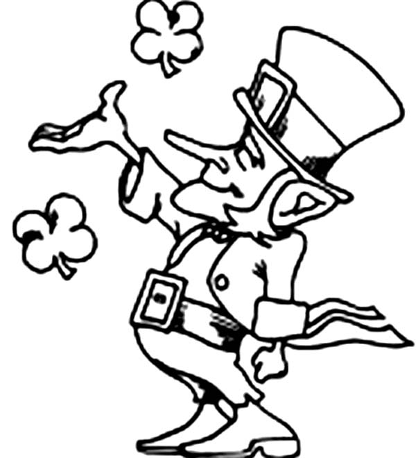 Leprechaun Playing With Four Leaf Clovers On St Patricks Day Coloring Page