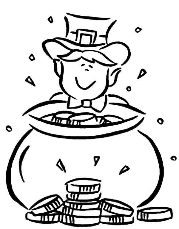 leprechaun and pot of gold coloring page - Free Printable Pot Of Gold Coloring Pages