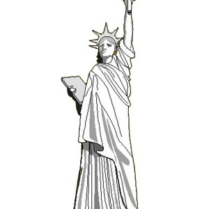 liberty enlightening the world in statue of liberty coloring page