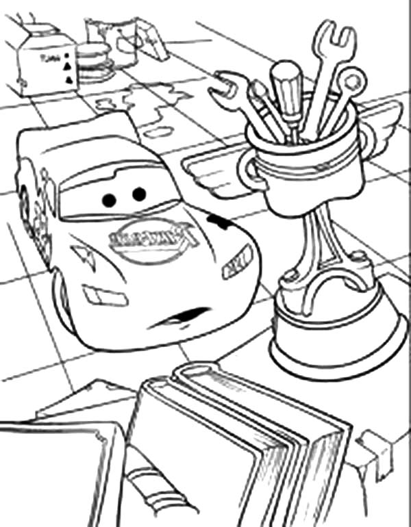 Cars Lighting McQueen In The Garage Disney Coloring Page