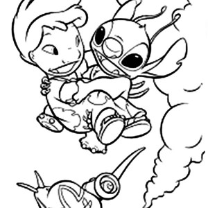 Lilo & Stitch Falling from Airplane Coloring Page