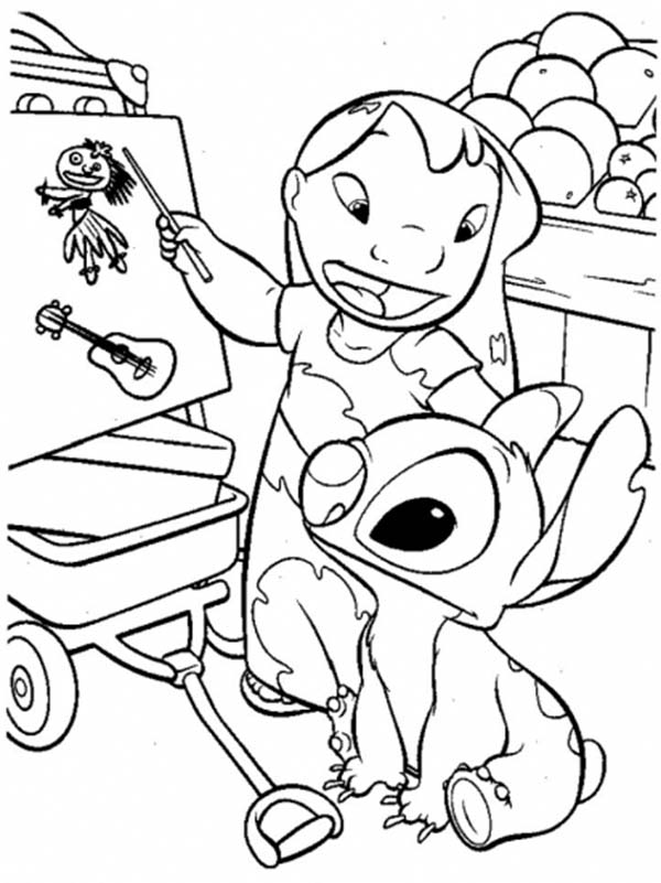 Lilo Stitch Teach In Coloring Page