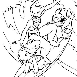 Lilo and Stitch and Lilo Sister Surfing Together in Lilo & Stitch Coloring Page