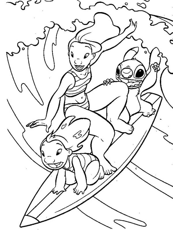 lilo stitch lilo and stitch and lilo sister surfing together in lilo - Surfboard Coloring Pages Print