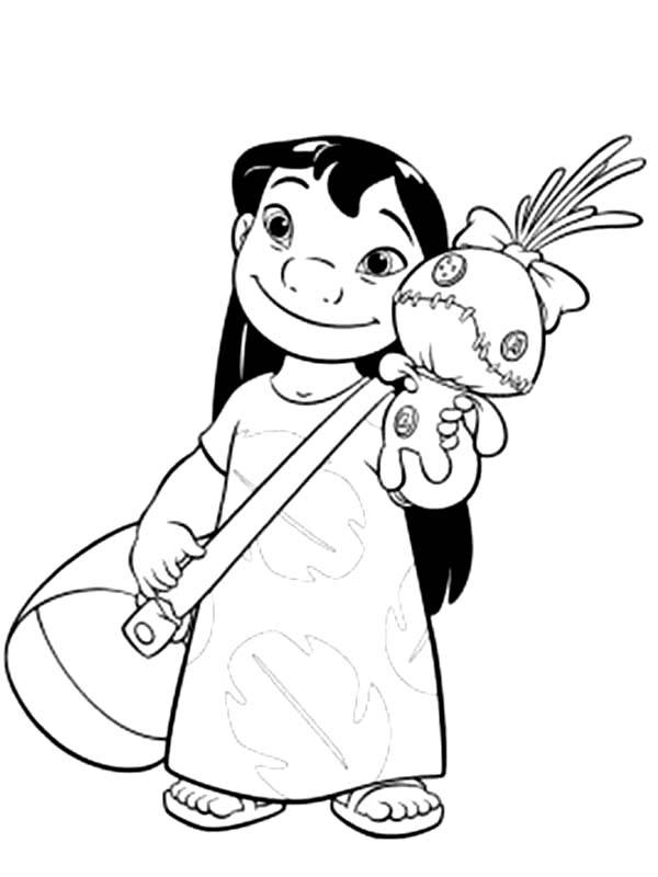 Lilo Stitch With Bag And A Doll In Coloring