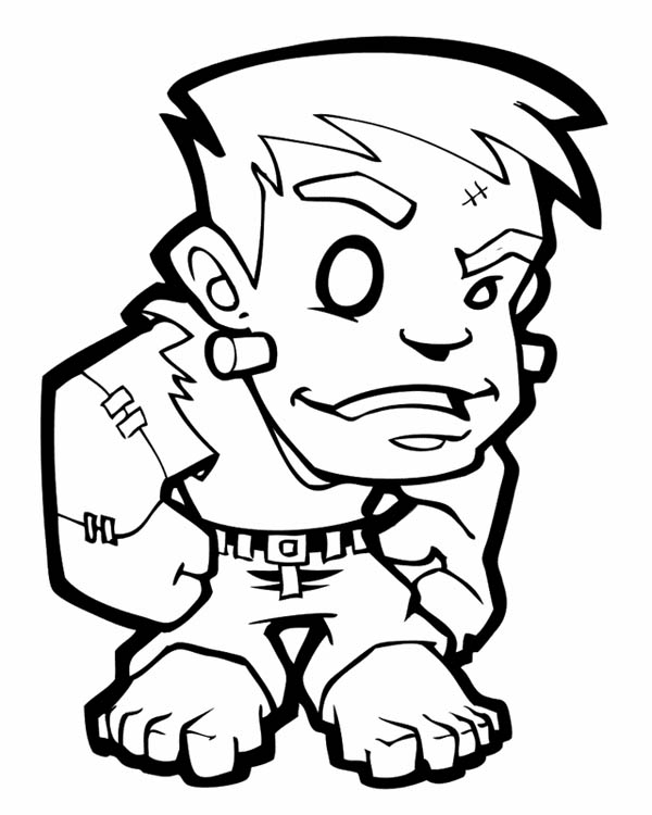 Frankenstein Coloring Pages Impressive Little Frankenstein Coloring Page  Download & Print Online Review