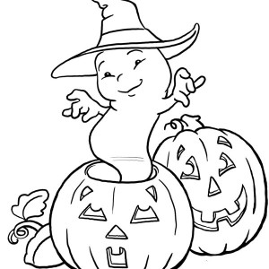 Little Ghost With Hat And Halloween Pumpkins Coloring Page