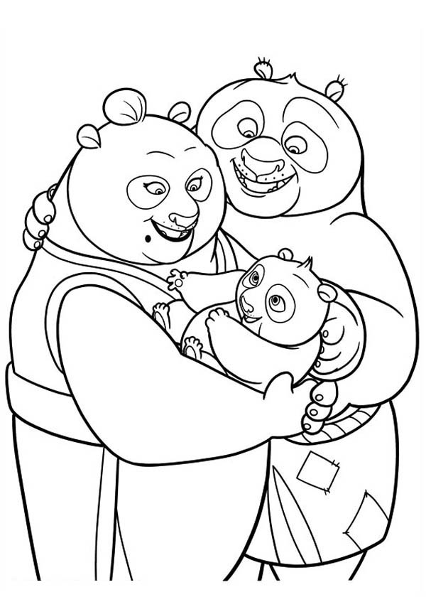Kung Fu Panda Little Po With His Parent In Coloring Page
