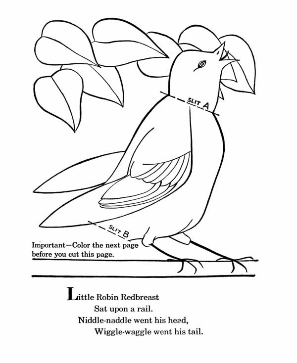 Little Robin Redbreast Coloring Page Download Print Online