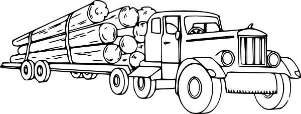 Logging Semi Truck Coloring Page Download Print Online