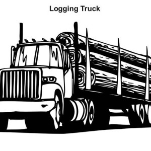 logging truck in semi truck coloring page