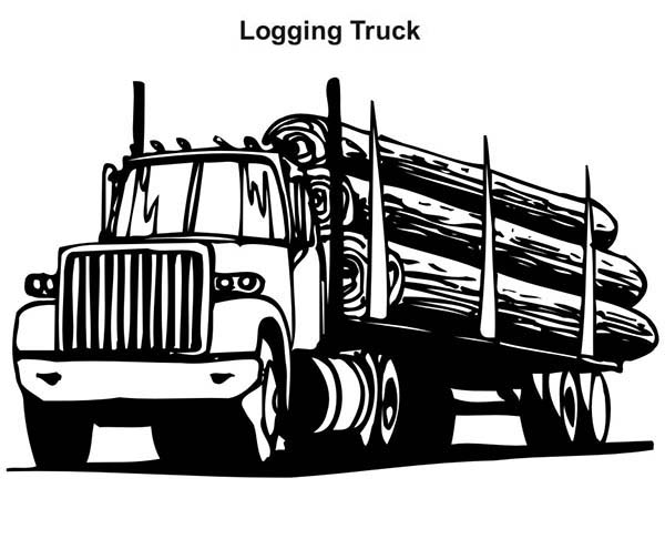 Logging Truck in Semi Truck Coloring Page Download Print