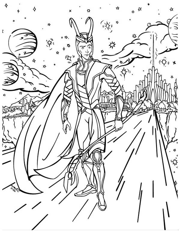 Avengers Tower Coloring Pages : Loki out of asgard in the avengers coloring page