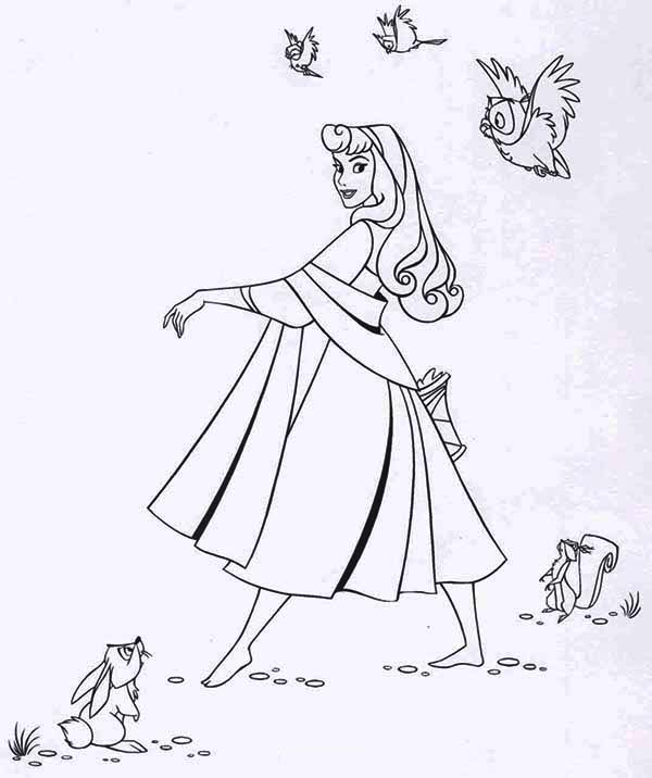 Lovely Princess Aurora Dance in Front of Her Friends Coloring Page ...