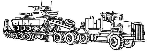 print m911 tractor truck with a het semitrailer in semi truck coloring page in full size