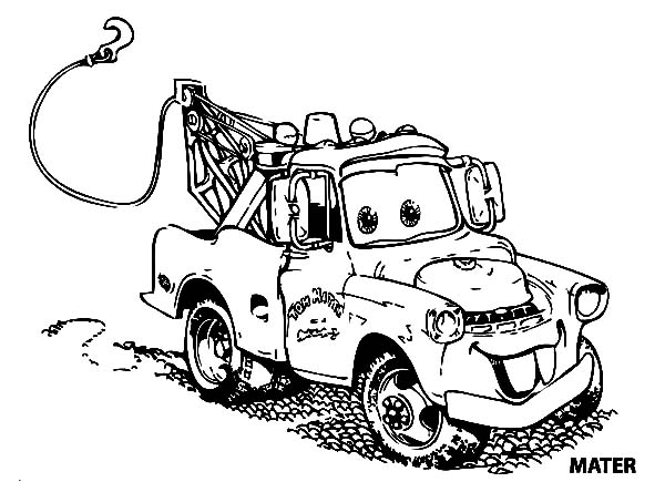 cars mater car in disney cars coloring page - Mater Coloring Pages