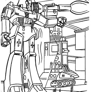 Megatron Shooting Autobots with Bazooka in Transformers Coloring Page