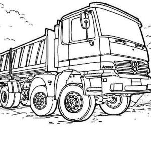 mercedes dump truck in semi truck coloring page - Semi Truck Trailer Coloring Pages