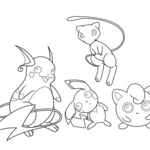 Mew and Jigglypuff and Pichu and Raichu Coloring Page