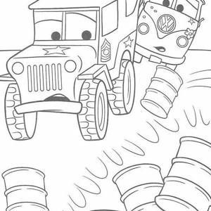 Miles Axlerod Crashing Drums in Disney Cars Coloring Page