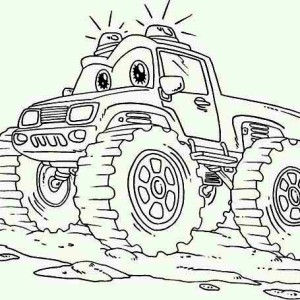 Monster Truck with Sirine Coloring Page