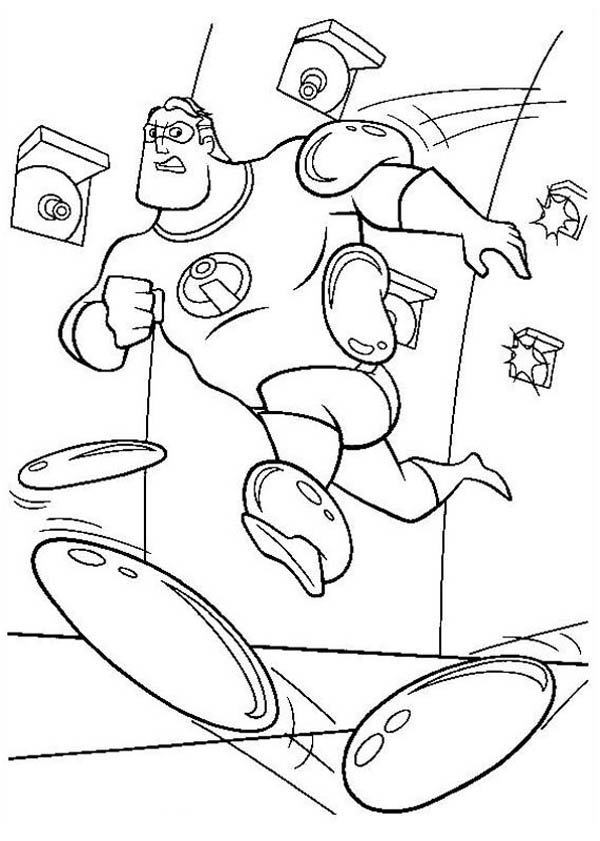 print mr incredibles being shot with sticky bullet in the incredibles coloring page in full size - Incredibles Coloring Page