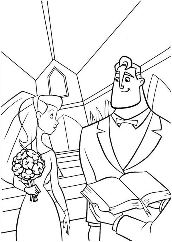 Mr Incredibles Marrying Elastigirl In The Incredibles