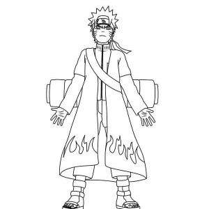 naruto with cool fire robe coloring page